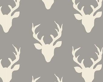 Buck Forest Mist - Hello, Bear Collection - Yardage - Gray Deer - Grey Deer - Modern Woodland Fabric - Fat Quarter
