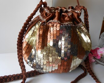 Sparkly Evening Bag, Sequin Evening Bag, Sequin Handbag, Copper Gold Silver, Glamorous Purse, Sequin Evening Purse EB-0697