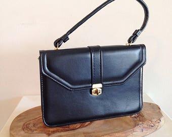 Vintage Mid Century Black Vegan Leather Bag or Purse