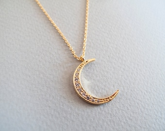 Gold  Crescent Moon Necklace - Gift for Her