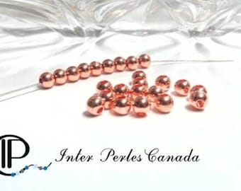 50/100pcs  solid brass, rose gold color, spacer beads 3mm gold 4mm, hole 1mm