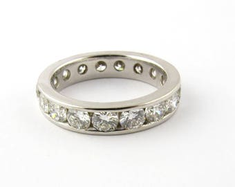 Vintage 14K White Gold Diamond Eternity Band Size 5.5 #750