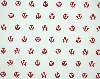 1940s Vintage Wallpaper by the Yard - Geometric Wallpaper with Red floral motiff