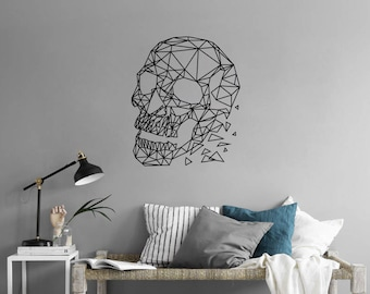 GEOMETRIC SKULL Removable Wall Sticker Decal Minimal Line Interior Design