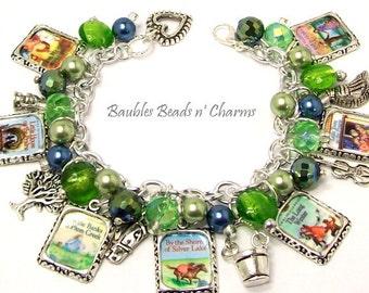 Little House on the Prairie Charm Bracelet Jewelry, Book Bracelet, Laura Ingalls Wilder, Literary Charm Bracelet Jewelry