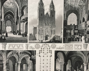 1849 Gothic Cathedral Architecture Large Original Antique Engraving - Mounted and Matted - 12 x 16 inches - Pillar, Archway, Column
