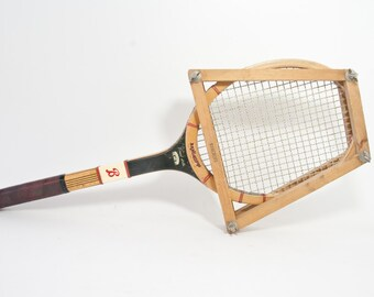Rare Bancroft Forest Hills Wooden Tennis Racket with Brace