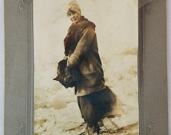 Antique Photo Circa 1910 Woman Walking on Ice Fur Muff