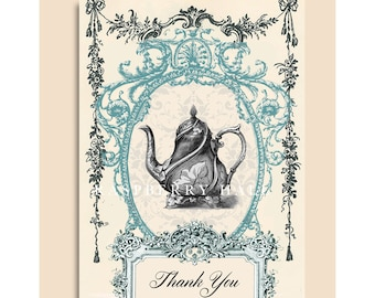 A-52 - THANK YOU CARD - Victorian Tea Pot - Raspberry Hall