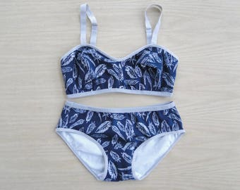 Feathers cotton bralette & panties set, navy blue and white, custom made lingerie