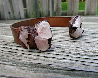 Electroformed rose quartz, raw gemstone, bangle bracelet, bracelet for girlfriend, healing crystal cuff, bracelet for wife raw crystal