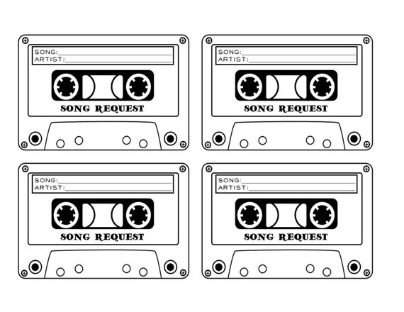 cassette tape song request wedding rsvp card printable