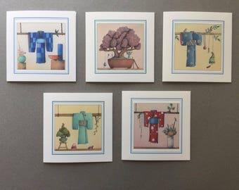 Kimono Set - 5 Greeting Card set
