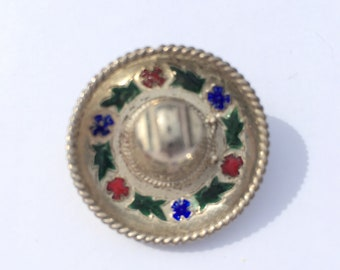 Vintage silver Mexican sombrero brooch with enamelled flowers and Mexican eagle