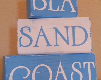 Beach Decor - Wooden Blocks - Sea, Sand, Coast