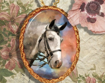 Gray Spanish Horse Andalusian , Lusitano Jewelry Pendant - Brooch Handcrafted Ceramic