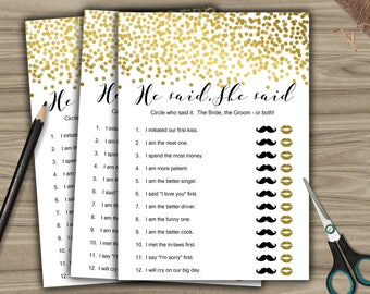 He Said, She Said - Game - Cards - PRINTABLE - INSTANT DOWNLOAD - Gold - Confetti - Bridal Shower - Bachelorette Party - L58