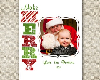 """Christmas HOLIDAY Cards """"Make Merry"""" Family Picture Customizable Printable Digital HOLIDAY Greeting"""