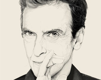 doctor who portrait drawing Peter Capaldi 12 doctor black and white art print poster