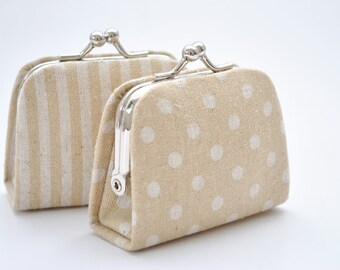 DOT - STRIPE - Beige Linen Cotton - Choose the Pattern - Tiny Kiss lock Coin Purse/Jewelry holder