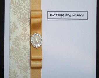 Handmade flocked damask champagne gold Wedding card