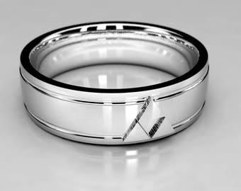 White Gold or Palladium Zelda Wedding Ring, Mens Zelda Gold or Palladium Wedding Band, Size 9 Ring, Legend of Zelda Geek Wedding Ring