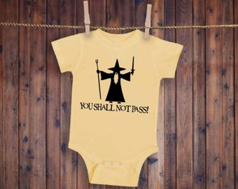 Lord of the Rings Style Hobbit Gandalf You Shall Not Pass Personalized Baby Onesie