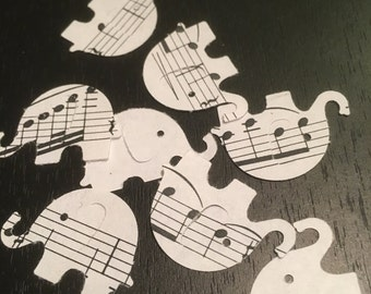 Recycled sheet music elephant table confetti