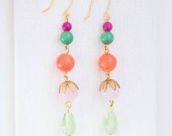 Beaded earrings  Dangle earrings  Statement earrings  Coral earrings  Boho earrings  Bohemian earrings  Bead earrings  Long earrings  Coral