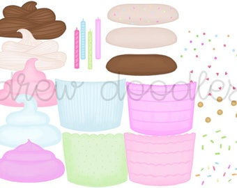 Build Your Own Cupcakes Digital Clip Art Set- Instant Download