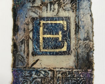 INITIAL E, small original contemporary mixed media painting monogram on handmade paper with gold leaf