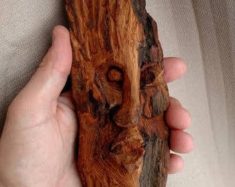 Hand carved wood spirit, cottonwood bark, hand carved, driftwood art, driftwood, nature, spirit face, unique wood gift