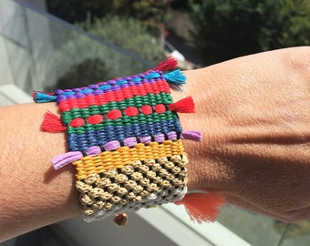 Bracelet, Boho bracelet, Jewelry,  Colourful bracelet, Woven bracelet, Summer, Handmade, Woven jewelry,  Loom, Made in Greece