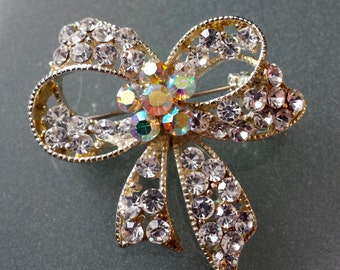 Vintage Aurora Borealis Bow Pin Brooch AB Pin Brooch Gilttering Glitzy Unsigned Special Occasion Jewelry