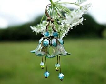 Boho Earrings - Flower Earrings - Bohemian Earrings - Floral Earrings - Woodland Earrings - Nature Earrings - Vintage Style - Dangle Drop.