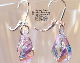 Genuine 16mm x 8mm Swarovski Clear AB Crystal Drop Earrings on Sterling Silver Lever Backs
