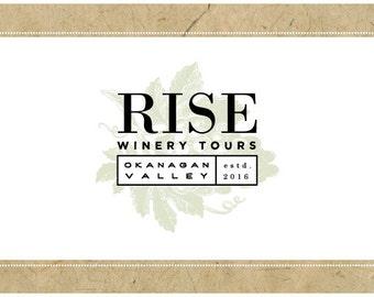 Custom Logo Design - PreDesigned Logo PreMade Logo - Vector Logo Design - OOAK Logo - RISE Logo Design - Custom Brand Design - Winery Logo