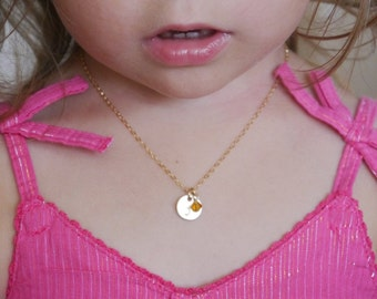 Little Girl Necklace, Little Girl Jewelry, Personalized, Kids Initial Necklace, Child Initial Necklace, 14k gold fill necklace, Toddler Gift