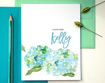 Floral Stationary, Floral Note Card, Personalized Stationary Set, Folded Notecard, Watercolor Stationary for Women