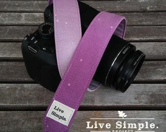 DSLR Camera Strap Lilac Night | Accessories | Soft Cotton | Live Simple®