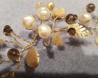 Hairvine, pearl, citrine, smokey quartz, mother of pearl, carved leaves, wire wrapped, gold fill wire MC144
