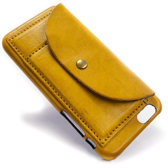 """iPhone 6S 4.7"""" or 6S PLUS 5.5"""" Leather Case handmade in Italy with 2 credit cards holders and a flap Device and Colour to CHOOSE"""