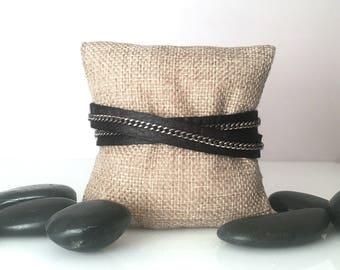 Leather Bracelet, Leather Jewelry, Wrap Bracelet, Leather Wrap, Chain Bracelet, Chain and Leather, Chain Wrap Bracelet, Steel,   b259dbl
