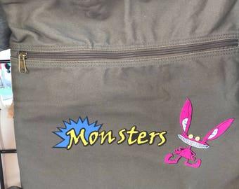 ahhh teal lonsters, bag, monsters bag, monster bag,