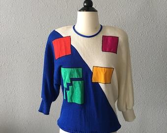 1980's Geometric Print Color Blocked Vintage Piet Mondrian Inspired Sweater