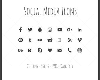 Social Media Icons - 21 icons in 5 sizes, dark gray, PNG files, solid icon, black, dark grey
