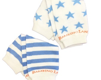 Newborn Blue & White Stars and Stripes Organic Baby Leg Warmer - set of 2