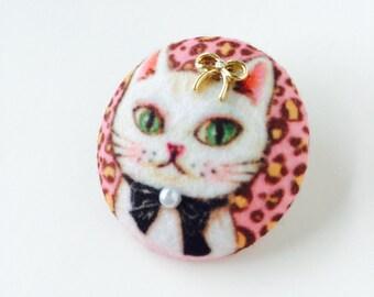 Vintage elegant cat, kitty brooch, pin