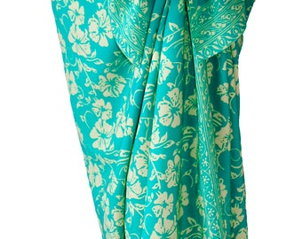 Beach Sarong Skirt Womens Clothing - Beach Cover Up Batik Pareo Aqua & Cream Hawaiian Flowers Sarong Pareo Wrap Skirt - Hibiscus Aloha Wear