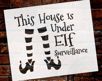 Elf Surveillance - Elf Legs - Word Art Stencil - Select Size - STCL2112 - by StudioR12